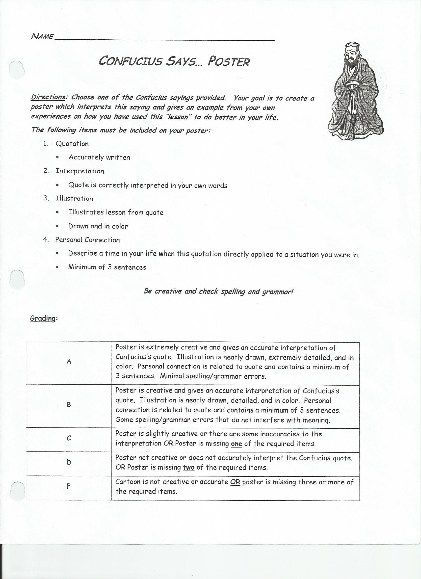 worksheet Confucius Says Worksheet kongkeattikul diana 7c ancient civilizations china worksheet and timeline confucius says poster rubric page 1