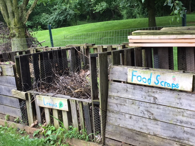 Composting food scraps & lawn waste helps our garden, and our students' knowledge, GROW